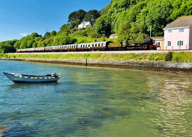 Paignton to Dartmouth Steam Railway on the banks of the River Dart